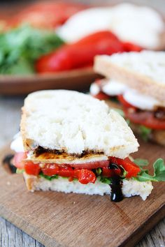 Roasted Red Pepper, Arugula, and Mozzarella Sandwich Recipe on twopeasandtheirpod.com. This simple sandwich is great for lunch or dinner! #s...