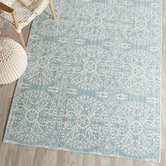Safavieh Valencia Alpine/ Cream Distressed Silky Polyester Rug (8' x 10') (VAL214G-8), Blue, Size 8' x 10'