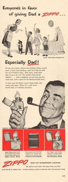 Image detail for -zippo ad was published in life magazine on the 14 th of june 1953 it ...
