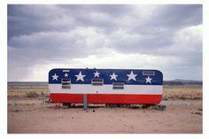 "John Baeder ""Trailer, Arizona route 66, 1975""  C print on kodak Endura paper, 50 x 75 cm, 2009"