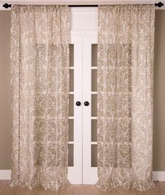 """Kitchen: Linen sheer with gold print curtains, rod pocket, unlined. Available in 3 sizes 51""""x 84"""" 51""""x 96"""" 51"""" x 108"""""""