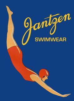 Dame de maillots de bain fashion Jantzen Swim Fine affiche Repro livraison…