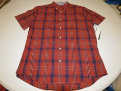 Men's Tommy Hilfiger shirt Plaid L button up 7880736 Ketchup 876 red blue #TommyHilfiger #ButtonFront