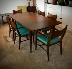 Mid Century Modern SAGA by Broyhill Premier Brasilia Dining Table & 6 Chairs - Dining Room Set