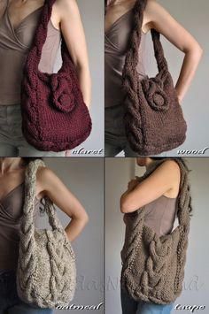 Hand knit cable shoulder bag tote crossbody by EveldasNeverland.etsy.com