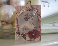 Victorian Style Card - Thinking of You Card - Victorian Lady Card