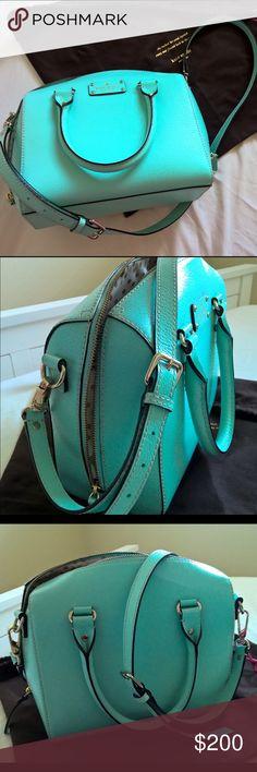 Kate spade turquoise mint satchel crossbody strap Beautiful turquoise Aqua mint color satchel with a cross body strap with minimal wear kate spade Bags Satchels