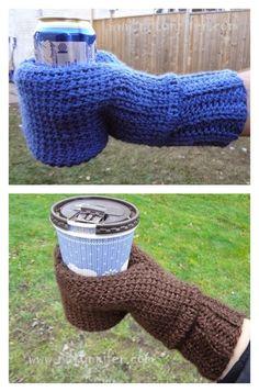 Crochet Beverage Cozy Mitt Free Pattern