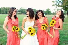Coral with the sunflowers. I dont like the dresses much, but its nice to visualize the color combo