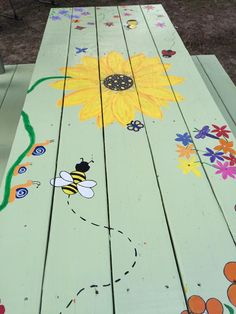 Cute pastel painted picnic tabl with yellow flowers picnic tables with benches tables art