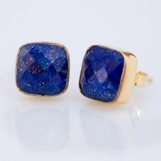 Stud Earrings - Cushion Lapis Stud Post Earrings - Gold Stud Gemstone Earrings - September Birthstone Earrings. $72.00, via Etsy.