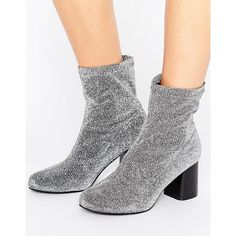 Truffle Stretch Glitter Ankle Boot (235 MYR) ❤ liked on Polyvore featuring shoes, boots, ankle booties, silver, slip on ankle boots, bootie boots, glitter booties, stretch ankle boots and round toe booties