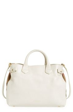 Burberry 'Medium Banner' House Check Leather Tote available at #Nordstrom