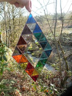 Stained glass window rainbow colored diamond of triangles via Etsy