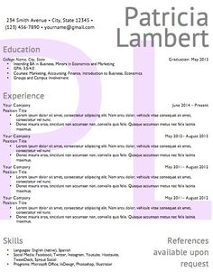 Resume Template  Word Document Download  Feminine Design