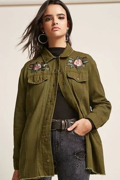 Product Name:Floral Embroidered Raw-Cut Denim Jacket, Category:CLEARANCE_ZERO, Price:58