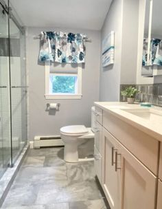 Gray and White Bathroom | McGuire + Co. Kitchen & Bath Wakefield, MA Bathroom Gallery, Bathroom Photos, Bathroom Ideas, Bathrooms, Gray And White Bathroom, Grey And White, Wakefield, Rain Shower, Shower Doors