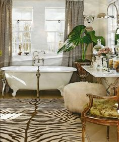 bathroom's with zebra rugs - Google Search