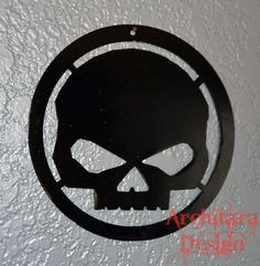Harley Davidson Skull Metal Hanging Wall Art Metal Sign by Architara Design, $25.00