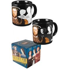 Henry VIII Disappearing Wives Mug - Every time you fill this royal mug with a hot beverage, Henry's six queens disappear like magic, revealing their names and fates. As the mug cools, all the wives reappear so that history can repeat itself. Ceramic; holds 12 ounces. Hand wash gently.