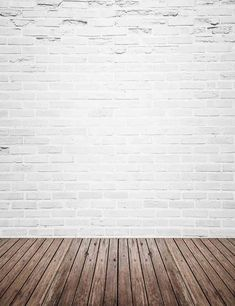 743295a1f78717 Retro White Brick Wall With Wood Floor Mat Texture Backdrop For Photography  Q-0130 White