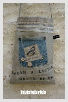 This one is a little different then many of the similar sized denim bag. I like the collage effect.