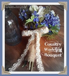 Country Wedding Bouquet - blue delphinium, blue hydrangea, peonies, green roses, ferns, burlap ribbon from Burlapfabric.com & crochet trim from Decorative Trimmings.  - by Cindi Bisson http://www.fatcatcreations.blogspot.com/2015/04/country-wedding-bouquet-with-decorative.html