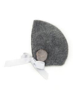 Casilda & Jimena Fur-Trim Cashmere Baby Bonnet, Gray