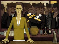 John Brack - The Bar.Artist John Brack Year 1954 Medium oil on canvas Dimensions cm × cm in × in) Location National Gallery of Victoria, Melbourne Australian Painting, Australian Artists, Chef D Oeuvre, Oeuvre D'art, Op Art, Web Gallery, Art Database, Art For Art Sake, Les Oeuvres