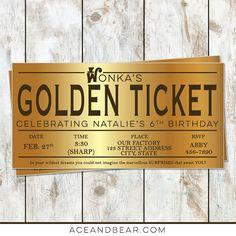 Willy Wonka Birthday Golden Ticket Birthday by rocketliv on Etsy