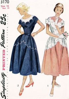 Simplicity 3170 ©1950 Scalloped Dress
