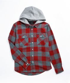 For a casual and layered look, grab the Bowery red hooded flannel shirt from Brixton. This flannel shirt comes in a red and grey plaid pattern for a classic look. A classic fold-over collar with a light grey hood sewn in offers up a relaxed and layered look, while the full button-up placket and button-down pockets at the chest complete this must-have design from Brixton. Hooded Flannel, Flannel Shirt, Black And White Shoes, Red And Grey, Black Trucker Hat, Flannels, Brixton, Skinny Fit Jeans, Layered Look