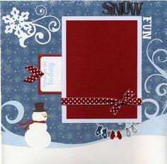 12x12 Premade Winter Scrapbook Page Snow by SusansScrapbookShack