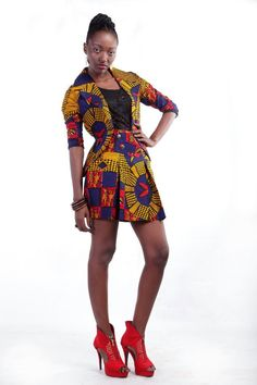 MAKSI - SEXY SCHOOL GIRL: jacket and matching skirt. To order please email info@maksiclothing.com or call +233 24 2370 212
