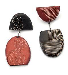 Tribal Earrings in Black and Rust by Kathleen Dustin (Polymer Clay Earrings)…