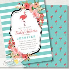 Flamingo Baby Shower Invitation Baby Shower by LemonadeMoments