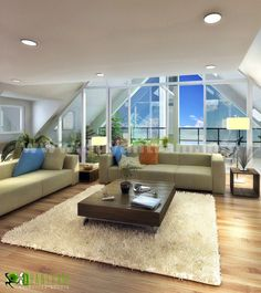 , Interior Rendering Minimalist Living Room In Attic With Glass Wall: Minimalist interior design picture 3d Interior Design, Interior Design Pictures, Interior Rendering, Commercial Interior Design, Commercial Interiors, Minimalist Interior, Minimalist Living, 3d Home, Staircase Design