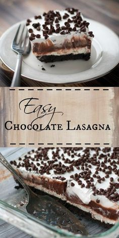 Lasagna Chocolate Lasagna - a super easy irresistible chocolate layered dessert topped with a Cool Whip topping.Chocolate Lasagna - a super easy irresistible chocolate layered dessert topped with a Cool Whip topping. 13 Desserts, Layered Desserts, Brownie Desserts, Easy Delicious Desserts, Baking Desserts, Holiday Desserts, Desserts With Cool Whip, Easy Bake Desserts, Easy Italian Desserts