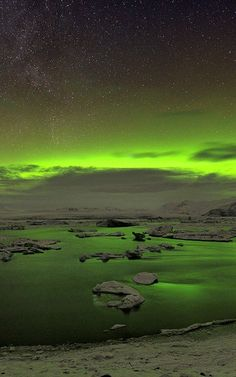 Northern light over Jökulsárlón in Iceland.