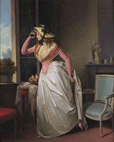"""Henri Nicolas Van Gorp (1756-1819) """"Femme à la Lorgnette"""" Vers 1795"""