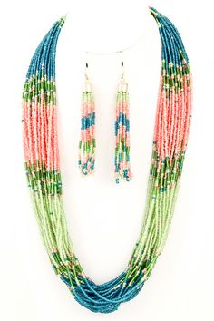 Blue/Pink/Green Seed Bead Necklace Set