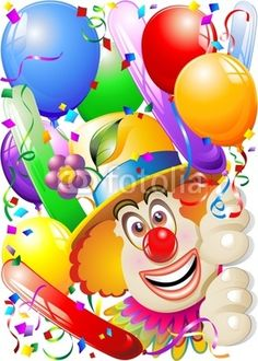 #Carnival #Party #Clown's #Face with #Colorful Swirls and Balloons! #Vector © bluedarkat - http://us.fotolia.com/id/29634437/partner/200929677