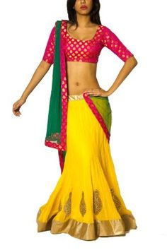 Yellow Georgette Lehenga with Pink Brocade, http://www.junglee.com/dp/B00CX08H1O/ref=cm_sw_cl_pt_dp_B00CX08H1O