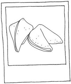 taking notes on how to angle a fortune cookie to draw it....  ps awesome blog: 365 line drawings for 365 days