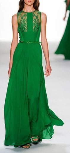 Green Dress with Lace Inset