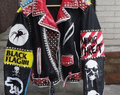 These are hand painted Vintage Leather Punk Rock Jackets With Studs and Spikes Alternative Mode, Alternative Fashion, Painted Leather Jacket, Colorful Leather Jacket, Vintage Leather Jacket, Punk Outfits, Fashion Outfits, Estilo Punk Rock, Custom Leather Jackets