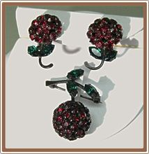 Warner Cherry Red Rhinestone Pin and Earrings with Leaves  ON  SALE for a short time..$76.00
