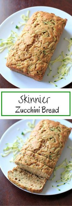 Zucchini Bread - made with applesauce and less sugar so you don't feel as much guilt for that second or third slice.Skinnier Zucchini Bread - made with applesauce and less sugar so you don't feel as much guilt for that second or third slice. Ww Recipes, Low Carb Recipes, Baking Recipes, Dessert Recipes, Muffin Recipes, Tapas Recipes, Crab Recipes, Light Recipes, Weight Watchers Zucchini