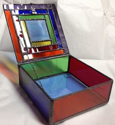 Stained Glass Jewelry Box Colorful Geometric by PeaceLuvGlass, $42.00