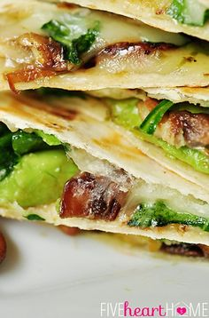 Spinach & Mushroom Quesadillas with Avocado & Pepper Jack